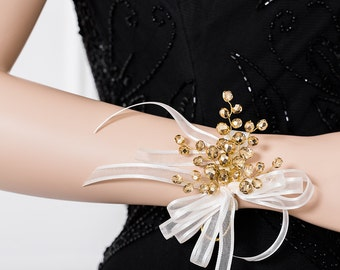 Gold Wrist Corsage - Stunning Gold Corsage - Golden Corsage -  Wedding Corsage - Bridesmaid Corsage - Prom Corsage -  - Flower Corsage