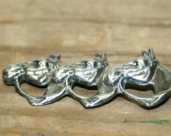 Sterling Silver 3 Horse Head Pin Vintage Pin Estate Jewelry Silver Brooch Horse Head Pin Vintage Silver Pin Collectable Vintage Jewelry