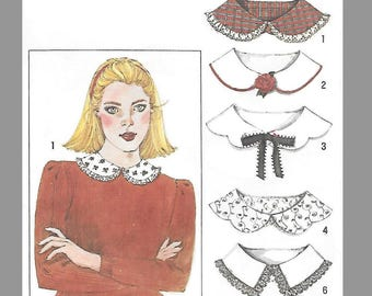 Simplicity 9761 Misses's 80s Set of Collars Sewing Pattern Collars: Peter Pan, Corded pipng, Scalloped Tie, Middy braid, Straight edge