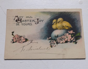 Antique Easter postcard Easter bunny Easter rabbit watching Easter chicks  and hen ephemera