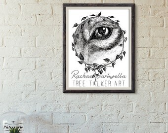 Full Moon Rising Art Print - By Rachael Caringella - Giclee Fine Art Print - Pen and Ink Illustration - Wolf Eye Illustration