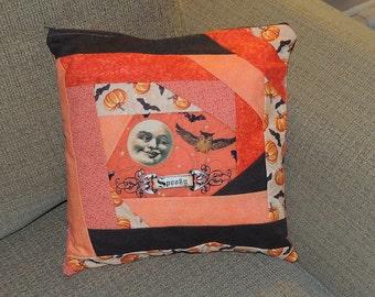 Retro print inspired OOAK Halloween Patchwork Pillow Moon Spooky Orange Black quilted pumpkins bats tan cream owl