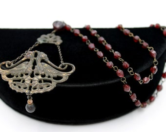 Czech Necklace with Red Glass Beads and Bird Design