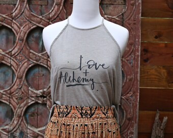 Love + Alchemy High Neck Tank in Stone