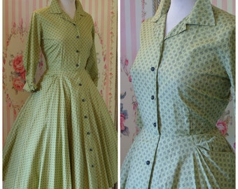R E D U C E D. . . Horrockses Fashions 1950s Button Front Cotton Day Dress with Full Skirt S Small