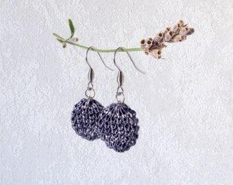 Earrings Globe, dark blue jeans Dangle Earrings, unique Style Knit Jewelry, silver steel ear hooks, knit coin, ear accessory one of a kind