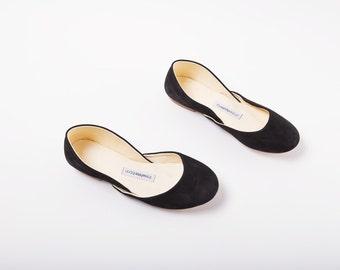 Black Suede Ballet Flats | Classic Ballerina Flats | Soft Nubuck Leather Shoes | Black Velvet | Ready to Ship