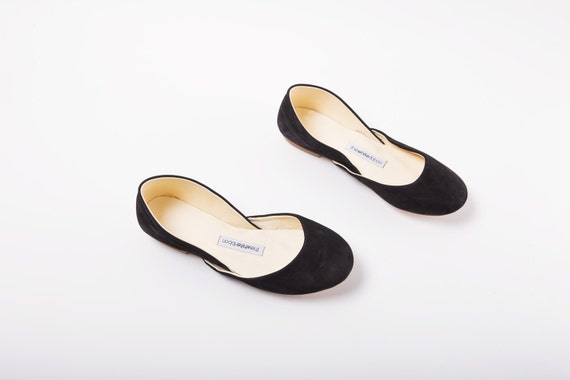 The Nubuck Ballet Flats in Black   Black Nubuck Leather Women's Shoes   Minimalist Shoes in Black Nubuck