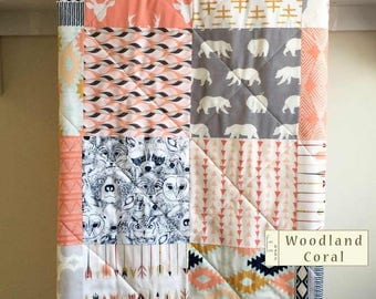 Baby Quilt, Girl, Woodland, Coral, Deer Quilt, Native Blanket, Arrows, Bear Quilt, Coral, Grey, Minky Quilt, Crib Bedding, Woodland Coral