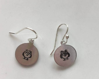 Hand stamped owl earrings