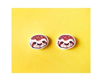 Cute Sloths Earrings - Sloth Jewelry - Mini Sloth Earring studs - Sloth Gifts - Sloth - Sloth Gifts - Cute Sloth - Earring studs