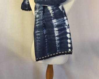 """Cotton dyed scarf in Navy with fringe ribbon 12"""" x 61"""""""