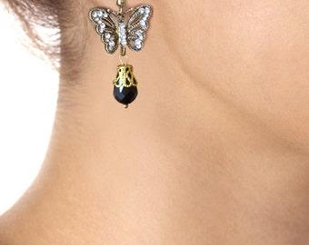 Art Nouveau Earrings Butterfly Earrings Insect Flapper Tear Drop Black Dangle Elegant Evening Gold Statement Jewelry Retro Vintage