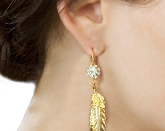 Art Nouveau Gold Leaf Earrings Bridesmaid Dangle Jewelry Long Rhinestones Crystal Glamour Hollywood Flapper Gift For Her Boho Statement