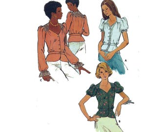"Peplum Blouse Sewing Pattern UNCUT Yoke and Fitted Waistband Vintage 70s Size 14 Bust 36"" (91 cm) Butterick 3767"