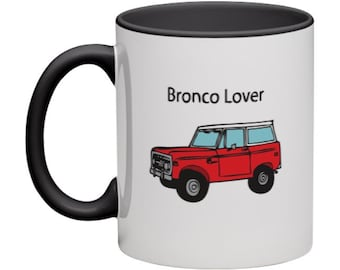 Classic Ford Bronco Lover Illustration Ceramic Mug with Black Handle