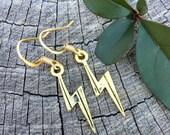 Gold Lightning Bolts . Earrings