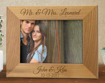 Engraved Photo Frame - Wooden Photo Frame - Personalized Photo Frame - Wedding Gift - 5th Anniversary Gift - Hardwood Frame - Picture Frame