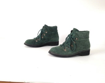 Size 7 8 women's grunge CHUKKA 80s 90s forest green LEATHER ankle boot shoes