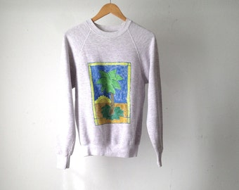 90s heather grey BOXY sweatshirt HAWAIIAN print hand painted PALM tree slouchy top blouse