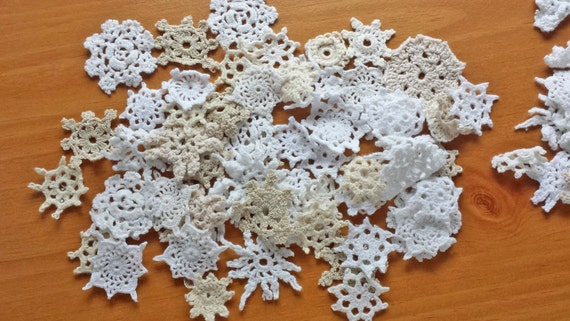 50 Mini Crochet Flower Doilies, Tiny Doilies, Small Doilies, Miniature Doily Pieces, Small Crochet Flowers, Crochet Appliques