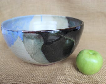 Unique hand thrown stoneware large pottery serving bowl, ready to ship