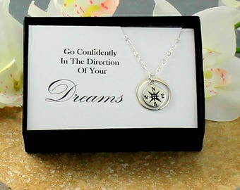 Sterling Silver Compass Necklace, High School Graduation Gift For Her, Silver Compass, Collage Graduation, Compass Jewelry, Message Card,