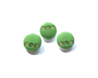3 Green & White Plastic Shank Vintage Buttons, 18mm