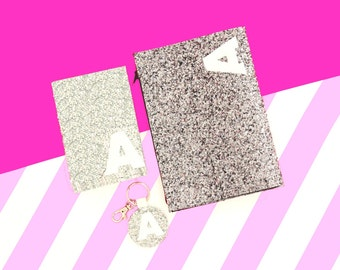 Personalised Silver Glitter Clutch Bag, Passport Cover, Keychain, Christmas Gift Idea