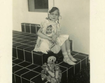 """Vintage Photo """"Raggedy Ann and Friends"""" Creepy Scary Looking Doll Toy Child Girl Children Found Snapshot Old Black & White Vernacular - 142"""