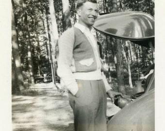 "Vintage Photo ""The Handsome Camper Has Arrived"" Snapshot Antique Photo Old Black & White Photograph Found Paper Ephemera Vernacular - 60"