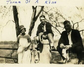 "Vintage Photo ""Three of a Kind"" Snapshot Antique Photo Old Black & White Photograph Found Paper Ephemera Vernacular - 172"