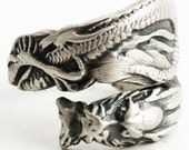 Silver Asian Dragon Ring, Spoon Ring Sterling Silver, Dragon Lover Gift for Him, Gift for Her, Fantacy Gift Ring Adjustable Ring Size (6080)