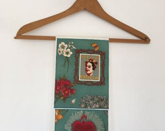 Towel-Frida Kahlo-Tea Towel-Dish Towel-Frieda-Viva Frida-Artist-Mexican Folk Art-Folklorico-Day of the  Dead-Hand Milagro-Flowers-Butterfly
