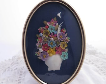 Vintage Seashell Art Flower Arrangement and White Shell Dove Gold Tone Metal Picture Frame With Easel Back Multi Color Seashells