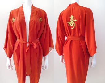 SALE - 1960s Persimmon and Gold Kanji Robe - 50% OFF