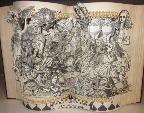 Alice in Wonderland Altered Book pop-up Style antique 1921 book restored and turned into a work of Art