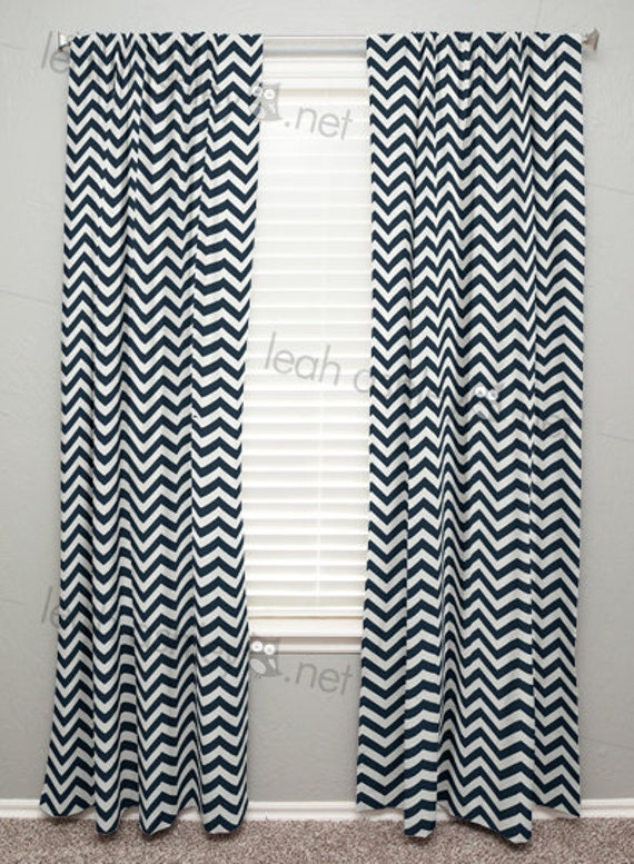 curtain panel navy chevron c1