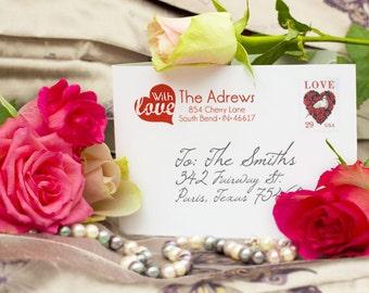 Personalized Address Stamp - Custom Address Stamp - Heart Stamp - Love Stamp - DIY Addressing - Wedding Stamp - Personalized Gifts - Custom