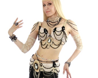 CLEARANCE Cameo and lace belly dance costume.