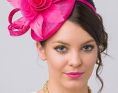 "Fuchsia Fascinator - ""Emelia Rose"" Fuchsia Fascinator Hat Headband w/ Round Sinamay Base"