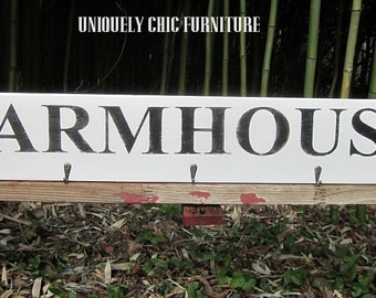 Farmhouse Sign Plaque Rack with Hooks Coat Hanger~Towel Rack~ Gallery Wall~ CUSTOM COLORS