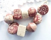 Ceramic beads, 8 handmade clay beads, 1 ceramic charm, rustic bead for jewelry making, pink cream, OOAK jewellery supplies, unique supply