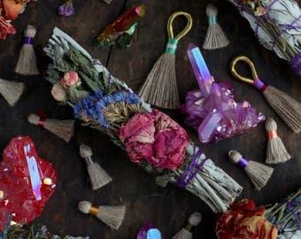 Floral Smudge Stick, Wand, Ceremony, Meditation, Sacred Cleansing, Positive Energy, Spiritual Altar Tool, Sage, Lavender, Rosemary, Rose