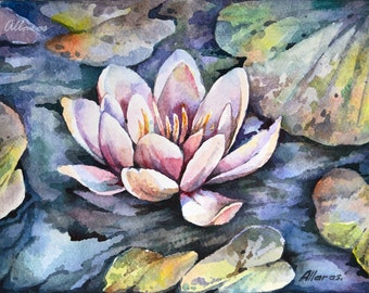 Water Lily painting. Original watercolour painting. Watercolour Small Painting. Flower painting. Original art. Original Small Format Art