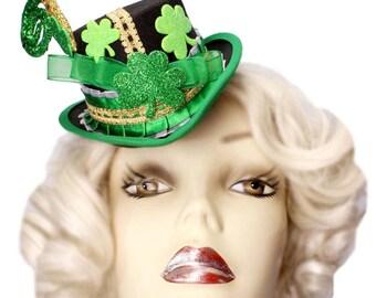 St Patricks Day Mini Top Hat Fascinator Lucky Shamrock Leprechaun Steampunk Green Gold