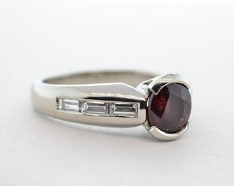 Platinum 1.50ct Natural Ruby and Diamond A Jaffe Ring - Size 8