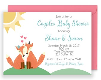 Woodland Shower Invite, Woodland Shower Invitation, Fox Shower Invite, Couples Shower Invitation
