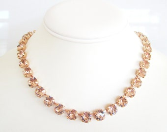Rose Gold Bridal Necklace,Cup Chain Necklace,Rose Gold Bridal Jewelry,Crystal Bridal Necklace, Blush Necklace,Rose Gold Necklace, Petal