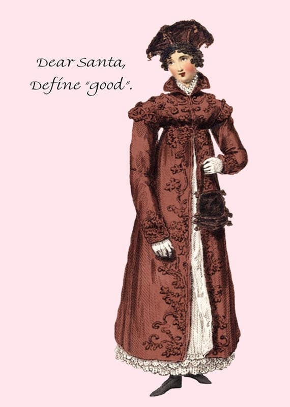 Dear Santa, Define Good. Christmas Card. Postcard. Funny Card. 4x6 Postcard. Gift For Her. Jane Austen Dress. Red. Pink.